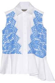 Emerson lace-appliquéd cotton-poplin and piqué top
