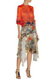 Preen by Thornton Bregazzi Tie-back devoré silk-chiffon blouse