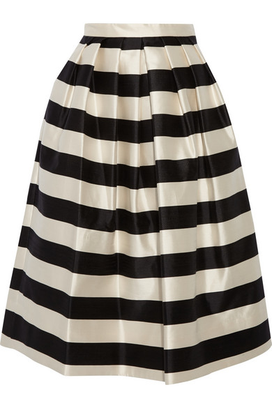 tibi escalante striped silk satin midi skirt net a