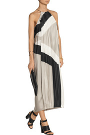 Tibi Maritime Border printed silk dress
