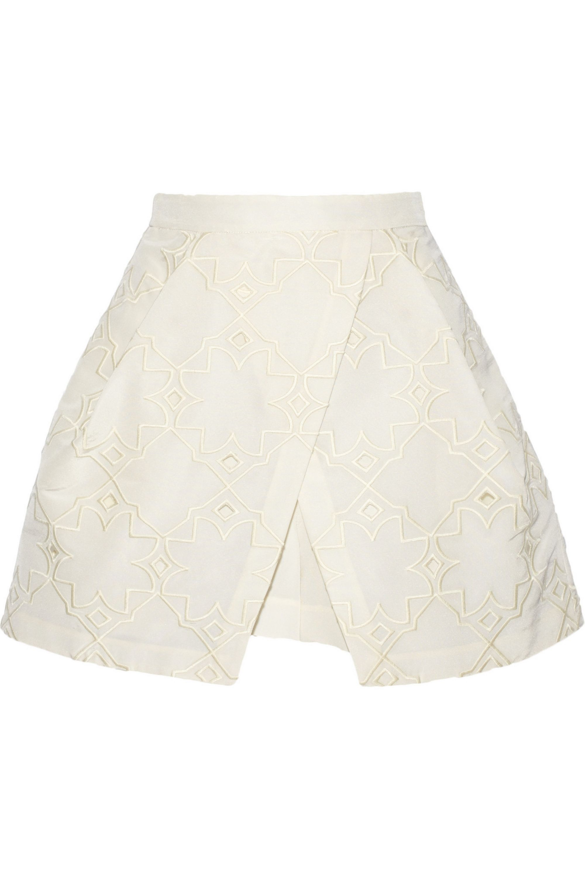 Tibi Brodee embroidered silk-faille layered shorts