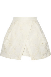 Brodee embroidered silk-faille layered shorts