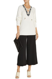 Tibi Lace-up cotton sweater