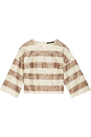 Escalante embroidered striped silk top