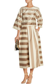 Tibi Escalante embroidered striped silk top