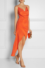 Haney Holly asymmetric silk-crepe dress