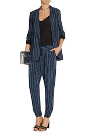 Pinstriped silk crepe de chine blazer