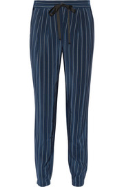 Pinstriped silk crepe de chine tapered pants
