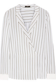Wrap-effect striped silk crepe de chine top