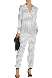 Tibi Wrap-effect striped silk crepe de chine top