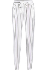 Striped silk crepe de chine tapered pants