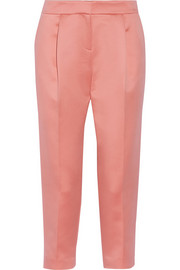 Cropped satin tapered pants