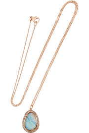 Brooke Gregson 18-karat rose gold, boulder opal and diamond necklace