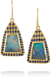 18-karat gold, boulder opal and sapphire earrings