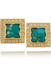 Brooke Gregson 18-karat gold, turquoise and diamond earrings