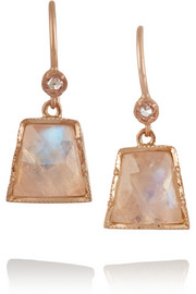 14-karat rose gold, moonstone and diamond earrings