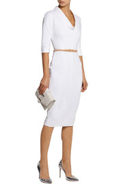 Belted stretch cotton-blend dress