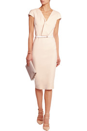 Victoria Beckham Belted draped stretch cotton-blend dress