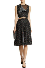 Victoria Beckham Silk-paneled floral-print organza dress