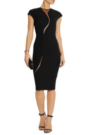 Victoria Beckham Tulle-paneled silk and wool-blend dress