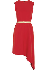 Belted asymmetric crepe dress