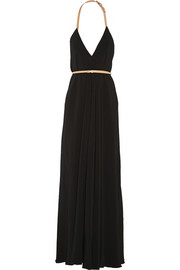 Leather-trimmed cady gown