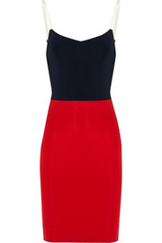 Victoria Beckham Leather-trimmed stretch-ponte mini dress