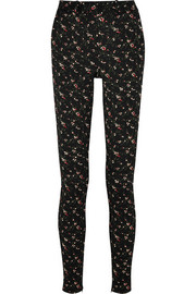 Floral stretch-jacquard skinny pants