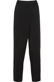 Wrap-effect satin-crepe tapered pants