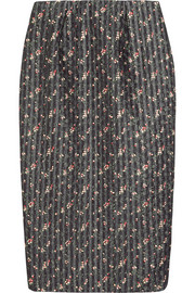 Floral-print organza and wool-blend pencil skirt
