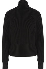 Ribbed cotton-blend turtleneck sweater