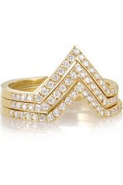 Triple V set of three 18-karat gold diamond rings