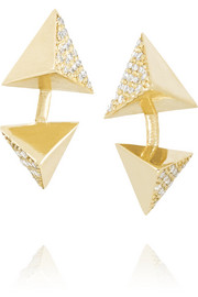 Ileana Makri Double Pyramid 18-karat gold diamond earrings
