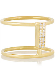 Connected 18-karat gold diamond ring