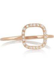 Little Square 18-karat rose gold diamond ring
