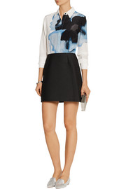 Victoria, Victoria Beckham Printed silk crepe de chine and jacquard mini dress
