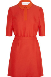 Contrast-collar cady dress