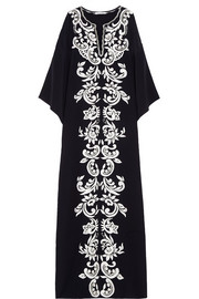 Embroidered matte-silk maxi kaftan