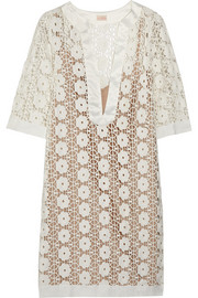 Collette by Collette Dinnigan Sateen-trimmed lace mini dress