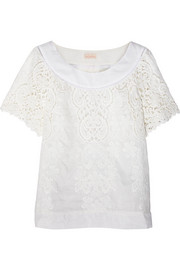 Rococo Daisies embroidered cotton and silk-blend top