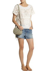 Collette by Collette Dinnigan Rococo Daisies embroidered cotton and silk-blend top