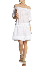 Collette by Collette Dinnigan Pleated linen and broderie anglaise mini dress