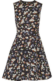 Erdem Edie printed cotton-blend faille mini dress