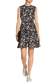 Edie printed cotton-blend faille mini dress