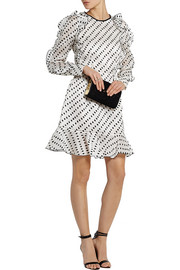 Liora flocked woven silk mini dress