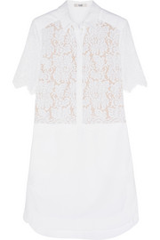 Erdem Breeson lace and piqué shirt dress