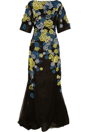 Erdem Carsani embroidered silk-organza gown