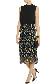 Erdem Safia crocheted lace midi skirt