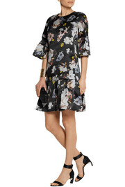 Logan floral-print silk-satin trapeze dress