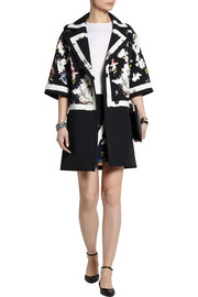 Jaidee printed stretch-crepe coat